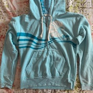Roxy Blue Hooded 3/4 ZIP Sweatshirt